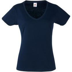 Textiel Dames T-shirts korte mouwen Fruit Of The Loom 61398 Donker Marine