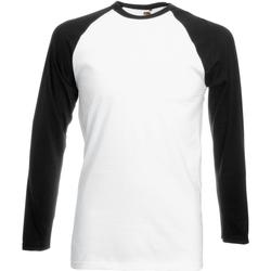 Textiel Heren T-shirts met lange mouwen Fruit Of The Loom 61028 Wit/Zwart