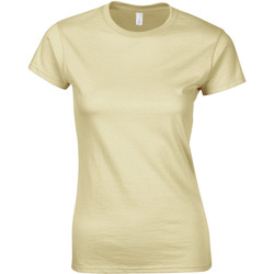 Textiel Dames T-shirts korte mouwen Gildan Soft Zand
