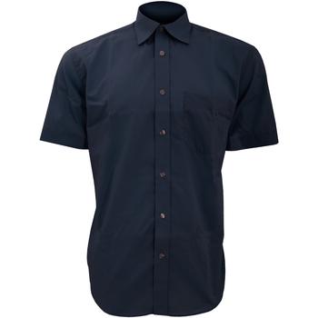 Textiel Heren Overhemden korte mouwen Kustom Kit Business Donkere marine