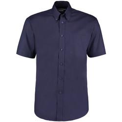 Textiel Heren Overhemden korte mouwen Kustom Kit Oxford Middernacht marine