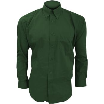 Textiel Heren Overhemden lange mouwen Kustom Kit Oxford Fles groen