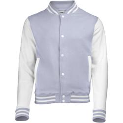 Textiel Kinderen Wind jackets Awdis Varsity Heide Grijs/Wit