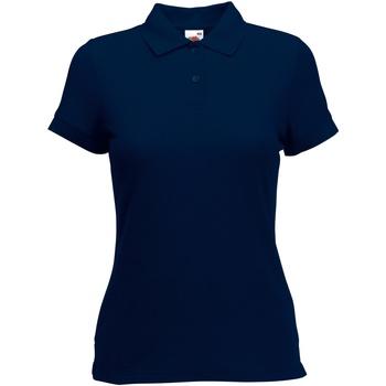 Textiel Dames Polo's korte mouwen Fruit Of The Loom 63212 Donker Marine