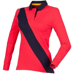 Textiel Dames Polo's lange mouwen Front Row Diagonal Rood/ Navy/ Navy