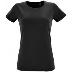 Textiel Dames T-shirts korte mouwen Sols Regent Diep zwart