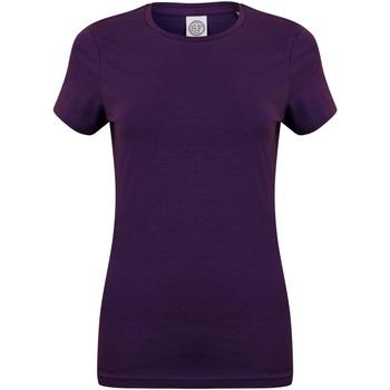 Textiel Dames T-shirts korte mouwen Skinni Fit Stretch Diep paars