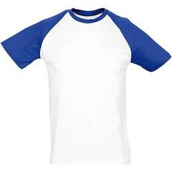 Textiel Heren T-shirts korte mouwen Sols Contrast Wit/royaal blauw