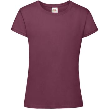 Textiel Meisjes T-shirts korte mouwen Fruit Of The Loom Sofspun Bordeaux
