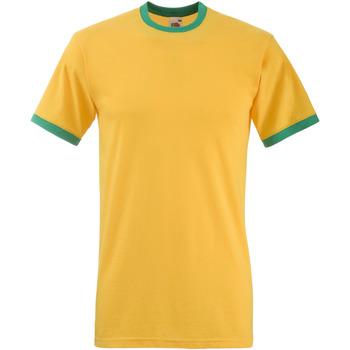 Textiel Heren T-shirts korte mouwen Fruit Of The Loom 61168 Zonnebloem Geel / Kelly Groen