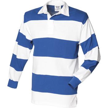 Textiel Heren Polo's lange mouwen Front Row Rugby Wit & Koninklijk (Witte kraag)