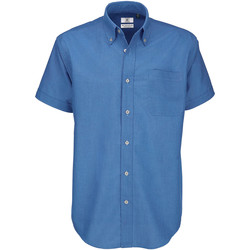 Textiel Heren Overhemden korte mouwen B And C Oxford Blauw chips