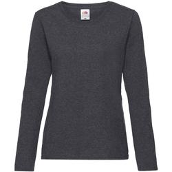 Textiel Dames T-shirts met lange mouwen Fruit Of The Loom 61404 Donkere Heide