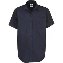 Textiel Heren Overhemden korte mouwen B And C Sharp Marine Blauw