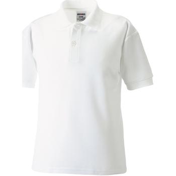 Textiel Jongens Polo's korte mouwen Jerzees Schoolgear Pique Wit