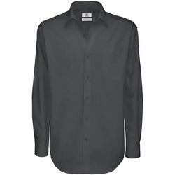 Textiel Heren Overhemden lange mouwen B And C Sharp Donker Grijs