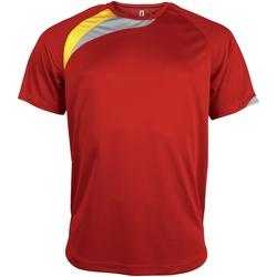 Textiel Heren T-shirts korte mouwen Kariban Proact Proact Rood/ Zwart/ Stormgrijs