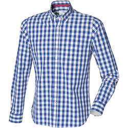 Textiel Heren Overhemden lange mouwen Front Row Checked Blauwe ruit