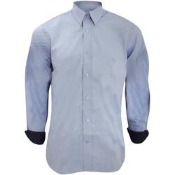 Textiel Heren Overhemden lange mouwen Kustom Kit Contrast Lichtblauw/Zwaar