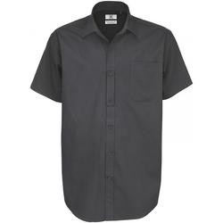 Textiel Heren Overhemden korte mouwen B And C Sharp Donker Grijs