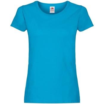 Textiel Dames T-shirts korte mouwen Fruit Of The Loom Original Azure Blauw