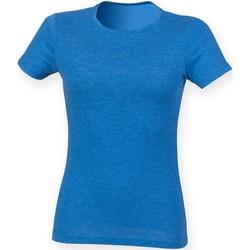 Textiel Dames T-shirts korte mouwen Skinni Fit Triblend Blauwe Triblend