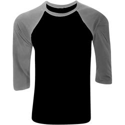 Textiel Heren T-shirts met lange mouwen Bella + Canvas CA3200 Zwart/Diep Heide Grijs