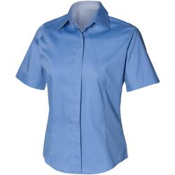 Textiel Heren Overhemden korte mouwen Henbury Oxford Bedrijfsblauw