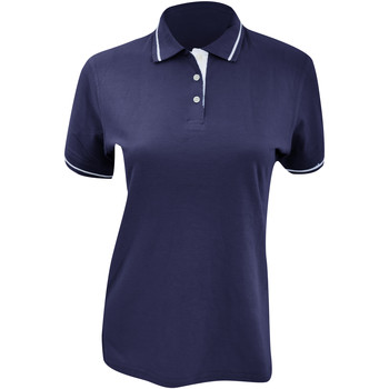 Textiel Dames Polo's korte mouwen Kustom Kit Mellion Marine / Wit