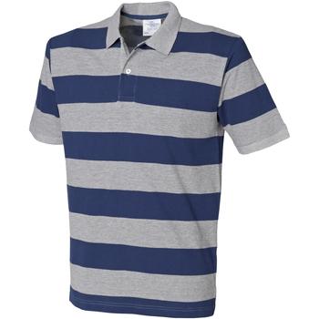 Textiel Heren Polo's korte mouwen Front Row Pique Heide Grijs/Navy