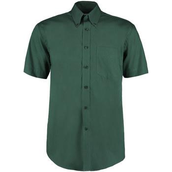 Textiel Heren Overhemden korte mouwen Kustom Kit Oxford Fles groen