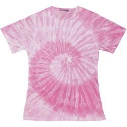 Textiel Dames T-shirts korte mouwen Colortone Tie Dye Spin Roze