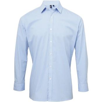 Textiel Heren Overhemden lange mouwen Premier Microcheck Lichtblauw/Wit