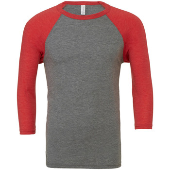 Textiel Heren T-shirts met lange mouwen Bella + Canvas Baseball Grijs/lichtrood Triblend