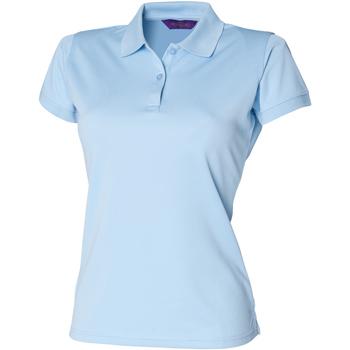 Textiel Dames Polo's korte mouwen Henbury Coolplus Lichtblauw