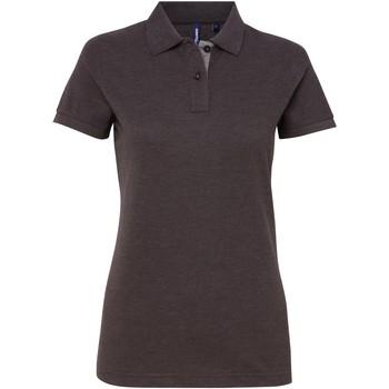 Textiel Dames Polo's korte mouwen Asquith & Fox Contrast Houtskool / Heide Grijs