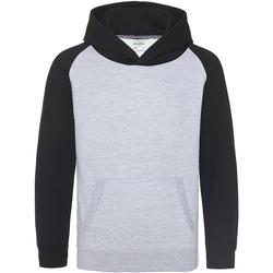 Textiel Kinderen Sweaters / Sweatshirts Awdis Baseball Heide Grijs / Jet Zwart