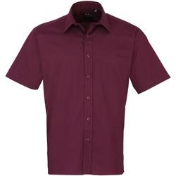 Textiel Heren Overhemden korte mouwen Premier Poplin Aubergine