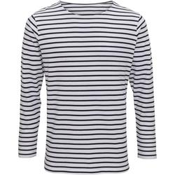 Textiel Heren T-shirts met lange mouwen Asquith & Fox AQ070 Wit/Zwaar