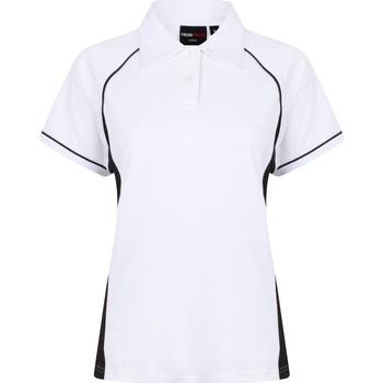 Textiel Dames Polo's korte mouwen Finden & Hales LV371 Wit/zwart/zwart