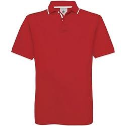 Textiel Heren Polo's korte mouwen B And C Safran Rood/Wit