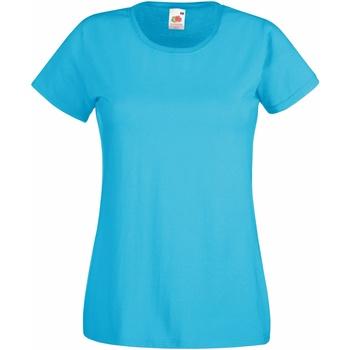 Textiel Dames T-shirts korte mouwen Fruit Of The Loom 61372 Azure Blauw