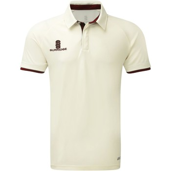 Textiel Jongens Polo's korte mouwen Surridge SU13B White/Maroen afwerking