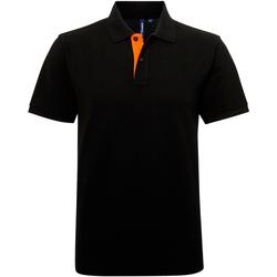 Textiel Heren Polo's korte mouwen Asquith & Fox Contrast Zwart / Oranje