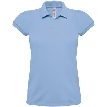 Textiel Dames Polo's korte mouwen B And C Heavymill Hemelsblauw