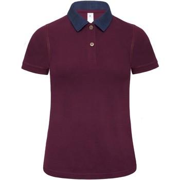 Textiel Dames Polo's korte mouwen B And C B803F Denim/ Bourgondië