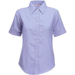 Textiel Dames Overhemden Fruit Of The Loom Oxford Oxford Blauw