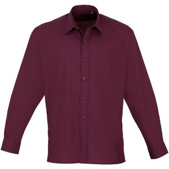 Textiel Heren Overhemden lange mouwen Premier Poplin Aubergine