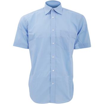 Textiel Heren Overhemden korte mouwen Kustom Kit Business Lichtblauw