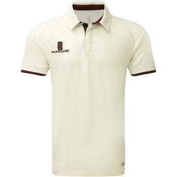 Textiel Heren Polo's korte mouwen Surridge SU013 White/Maroen afwerking
